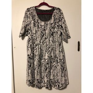 Snakeskin Print Fit and Flare Textured Dress